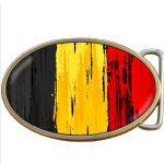 Belgium Grunge Flag Belt Buckle. Code A0022